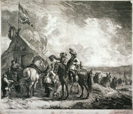 [Two men on horseback and one standing near a rest stop]