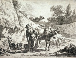 [Woman carrying basket surrounded by animals]