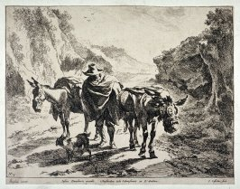 [Man walking with two mules and a dog]
