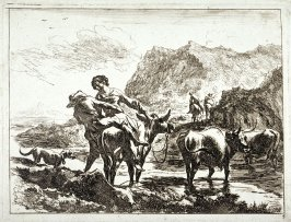 [Man and woman mounting a horse]