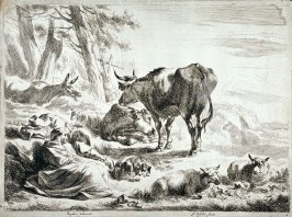One of a set of 4 landscapes with cattle, sheep and shepherds (Plate 2)
