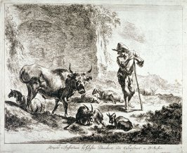 Herd Resting on Staff Near a Ruin from a series of Pastoral Landscapes