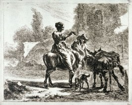 One of a set of 6 landscapes with shepherds and animals (Plate 2)