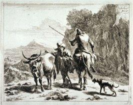 One of a set of 6 landscapes with shepherds and animals (Plate 3)