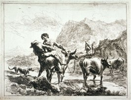 One of a set of 6 landscapes with shepherds and animals (Plate 4)