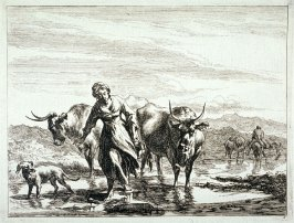 One of a set of 6 landscapes with shepherds and animals (Plate 5)