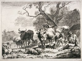 Landscape with herder resting surrounded by cattle and sheep, etc.