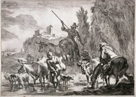 Landscape, cattle and woman wading through stream