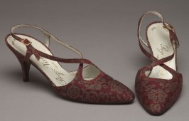 Red brocade shoes (match dress 1987.25.8)