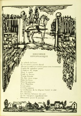 "Illustration accompanying the poem ""Boucherie Hippophagique,"" in the book Communications: Poèmes et bois gravés by Vlaminck (Paris: Galerie Simon, 1921)"