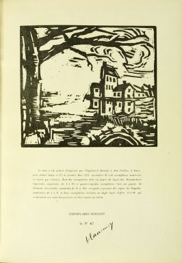 Illustration on the colophon page, in the book Communications: Poèmes et bois gravés by Vlaminck (Paris: Galerie Simon, 1921)