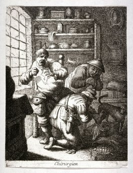 Touch, surgeon operating a man's leg, a turtoise lower left from the series The Five Senses (reverse copy)