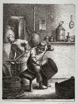 Braziers, one cutting a copper plate from the series Crafts and Trades (reverse copy)