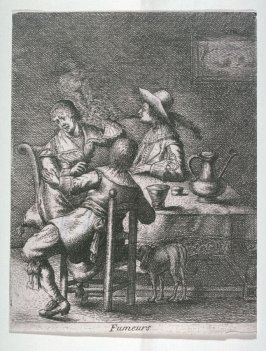 Smell, a smoker exhaling towards a woman in the series The Five Senses (reverse copy)
