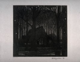 [Night scene with house in the woods]