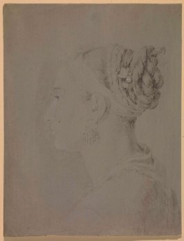 Profile portrait of a young woman, facing left