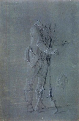 Studies of Standing Male Figure with two muskets crossed