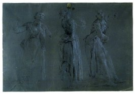 Three Stidies of a Standing Female Figure in Various Poses