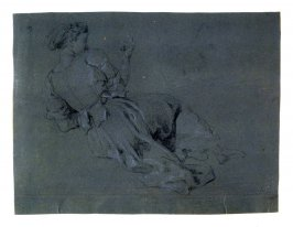 Study of a Female Figure viewed from rear, leaning on her left arm