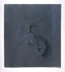 Seated Female Figure, viewed from rear, with right arm outstretched