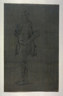 Study of a standing male figure, smoking a pipe