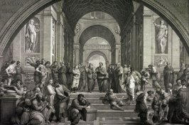The School of Athens, after the fresco by Raphael in the Vatican Stanze