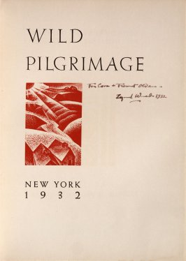 Title page, in the book Wild Pilgrimage by Lynd Kendall Ward (New York: Harrison Smith & Robert Haas, 1932)