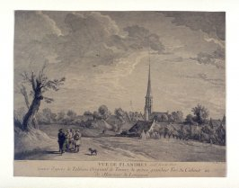 Untitled print, baroque church tower