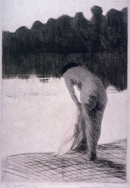 Untitled (Nude woman standing in water, cliffs in background)