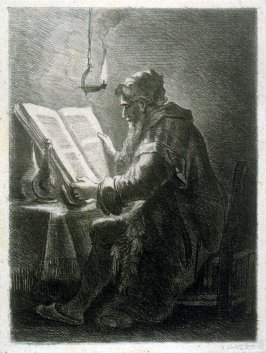 Old Philosopher seated, reading a large book