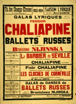 Theatre Champs-Elysées Poster for Feodor Chaliapin and the Ballets Russes under the direction of Bronislawa Nijinska