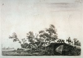 [Landscape: Horseman and animals crossing a bridge]