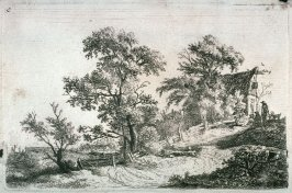 [Landscape: Group of people sitting near cabin to the left of trees]]