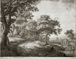 [Landscape: Two men in river with a dog and one man to the side]