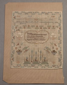 "Sampler: inscribed, ""Jesus permit thy gracious Name...""k"