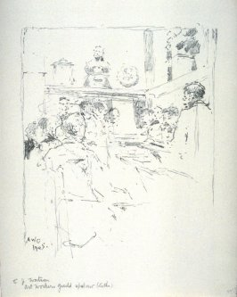 A.W.G. 14 April, fourteenth plate from the portfolio Sketches Made on the Lithography Night 14 April 1905 by Members of the Art Workers Guild, Clifford Inn Hall and Published for the Benefit of the Chest