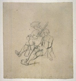 Study of Two Seated Soldiers