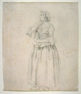 Study of a Standing Female Figure, right hand at chin (Dame de la cour)