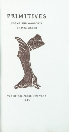 """Abstract Design (Flight)"" on title page in the book Primitives: Poems and Woodcuts by Max Weber (New York: Spiral Press, 1926)."