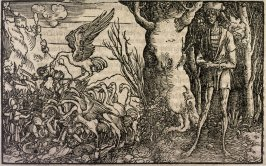 Von der Schwachkeit des Liebs (Battle of the Pygmies and the Cranes), from Petrarch, Von der Artzney bayder Glück (De Remediis Utriusque Fortuna) (On the Remedies of Good and Bad Fortune) (unidentified edition published 1539-1620)