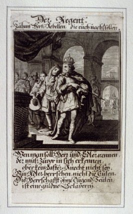 Der Regent, plate 2 from the book Etwas für Alle … Stands- Ambts- Bewerbs-Persohnen…by Father Abraham à Santa Clara (Nuremberg: Christoph Weigel, [1699])