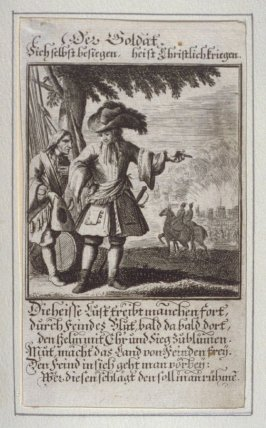 Der Soldat, plate 6 from the book Etwas für Alle … Stands- Ambts- Bewerbs-Persohnen…by Father Abraham à Santa Clara (Nuremberg: Christoph Weigel, [1699])