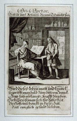 Der Doctor, plate 10 from the book Etwas für Alle … Stands- Ambts- Bewerbs-Persohnen…by Father Abraham à Santa Clara (Nuremberg: Christoph Weigel, [1699])