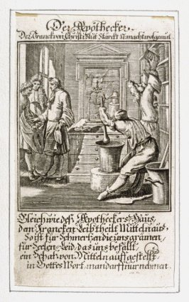 Der Apothecker, plate 11 from the book Etwas für Alle … Stands- Ambts- Bewerbs-Persohnen…by Father Abraham à Santa Clara (Nuremberg: Christoph Weigel, [1699])