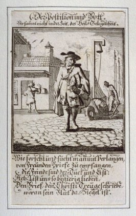 Der Postilion und Post, plate 15 from the book Etwas für Alle … Stands- Ambts- Bewerbs-Persohnen…by Father Abraham à Santa Clara (Nuremberg: Christoph Weigel, [1699])