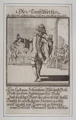 Der Tantzmeister, plate 20 from the book Etwas für Alle … Stands- Ambts- Bewerbs-Persohnen…by Father Abraham à Santa Clara (Nuremberg: Christoph Weigel, [1699])