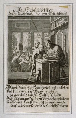 Der Schulmeister, plate 33 from the book Etwas für Alle … Stands- Ambts- Bewerbs-Persohnen…by Father Abraham à Santa Clara (Nuremberg: Christoph Weigel, [1699])