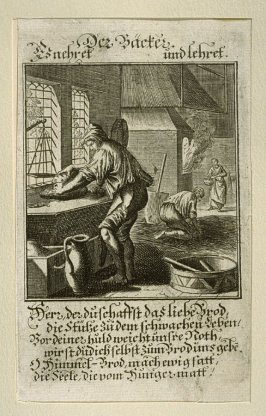 Der Bäcker, plate 81 from the book Etwas für Alle … Stands- Ambts- Bewerbs-Persohnen…by Father Abraham à Santa Clara (Nuremberg: Christoph Weigel, [1699])