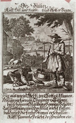 Der Bauer, plate 98 from the book Etwas für Alle … Stands- Ambts- Bewerbs-Persohnen…by Father Abraham à Santa Clara (Nuremberg: Christoph Weigel, [1699])