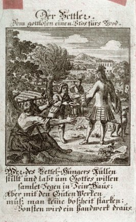 Der Bettler, plate 99 from the book Etwas für Alle … Stands- Ambts- Bewerbs-Persohnen…by Father Abraham à Santa Clara (Nuremberg: Christoph Weigel, [1699])